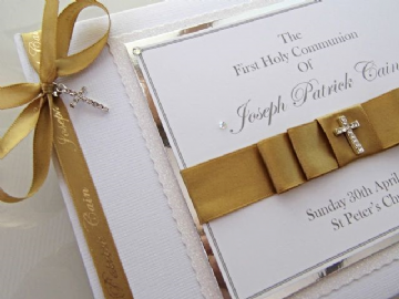 Personalised First Holy Communion Guest Book - White & Gold